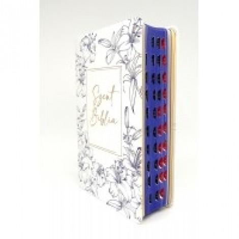 Szent Biblia közepes- fehér-kék virágos,regiszteres