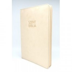 Nagy Biblia - Bézs Bársony - Cipzárral - Regiszterrel