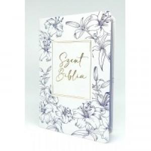 Szent Biblia közepes- fehér-kék virágos